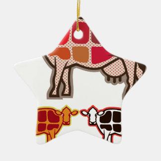 Cortes de la carne de vaca adorno navideño de cerámica en forma de estrella