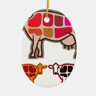 Cortes de la carne de vaca adorno navideño ovalado de cerámica