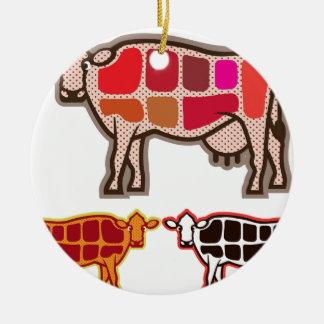 Cortes de la carne de vaca adorno navideño redondo de cerámica