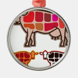 Cortes de la carne de vaca adorno navideño redondo de metal