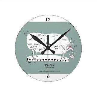 cortes de los carniceros - cerdo, fernandes tony reloj redondo mediano