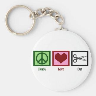 Cortes de pelo del amor de la paz llaveros personalizados