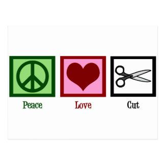 Cortes de pelo del amor de la paz tarjeta postal