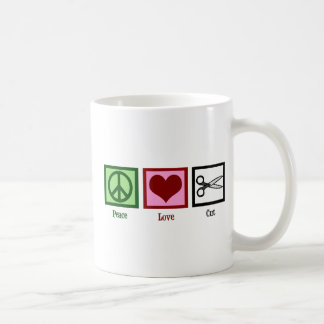 Cortes de pelo del amor de la paz taza básica blanca