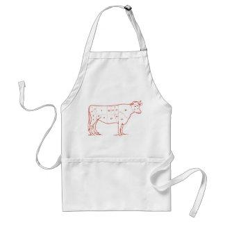 Cortes retros de la carne de vaca delantales