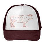 Cortes retros de la carne de vaca gorro
