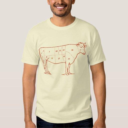 Cortes retros de la carne de vaca playeras