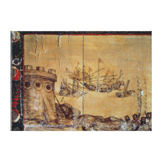 Cortes sails for Mexico, 1518 Canvas Print