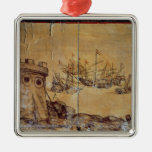 Cortes sails for Mexico, 1518 Christmas Ornaments