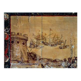 Cortes sails for Mexico, 1518 Post Card