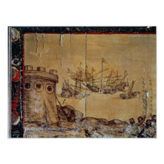 Cortes sails for Mexico, 1518 Poster