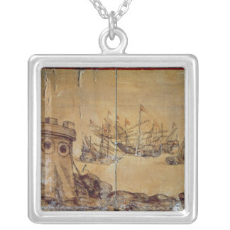 Cortes sails for Mexico, 1518 Silver Plated Necklace