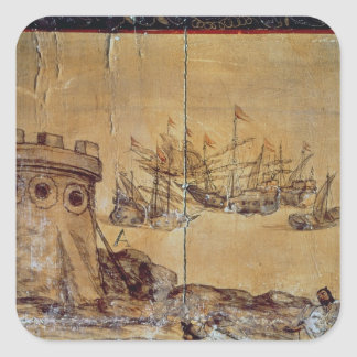 Cortes sails for Mexico, 1518 Square Sticker