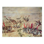 Cortes sinking his fleet off the coast of postcard