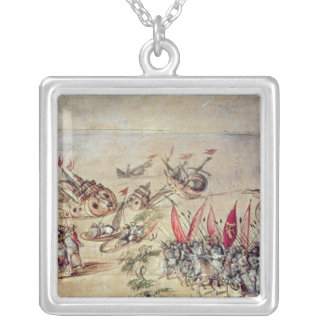 Cortes sinking his fleet off the coast of silver plated necklace