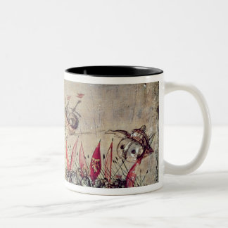 Cortes sinking his fleet off the coast of Two-Tone coffee mug