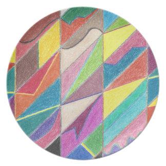 Cortes y placa coloridos de la melamina de las plato de cena