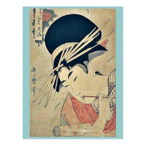 Cortesana que mastica en el cepillo por Kitagawa, Tarjeta Postal