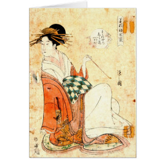 Cortesana Shiratsuyu de Wakana-ya 1791 Tarjeta De Felicitación