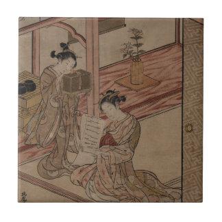 Cortesana y Kamuro en una sala Azulejos Ceramicos