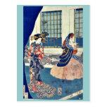 Cortesanas en un edificio por Utagawa, Sadahide Postales