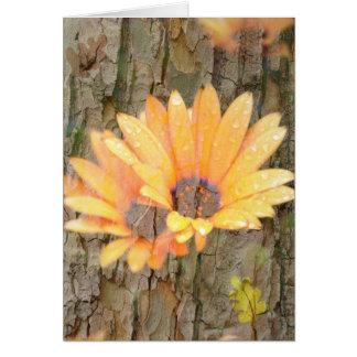 Corteza amarilla de la flor tarjeton