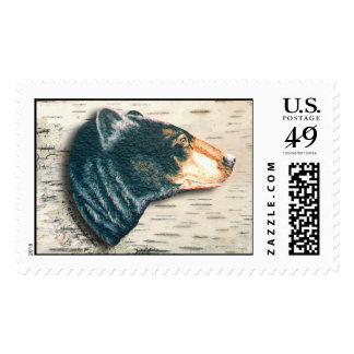Corteza de abedul del oso negro sello postal