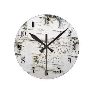 Corteza de abedul relojes de pared