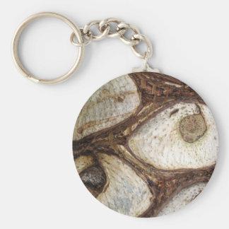 Corteza de árbol llavero redondo tipo pin