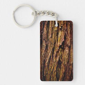 Corteza de árbol real llavero rectangular acrílico a una cara
