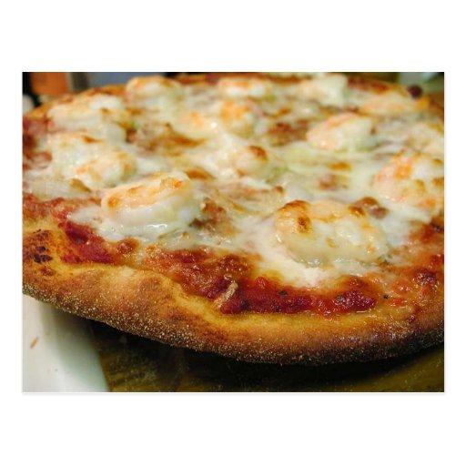Corteza del queso del camarón de las pizzas tarjetas postales