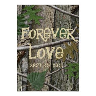 """Corteza y hojas naturales de árbol de maderas invitación 5"""" x 7"""""""