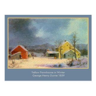 Cortijo amarillo de George Henry Durrie Tarjeta Postal