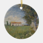 Cortijo en un ornamento del campo de trigo ornaments para arbol de navidad