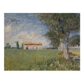 Cortijo en un Wheatfield de Vincent van Gogh Postal