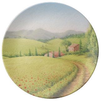 Cortijo toscano, Italia en placa en colores pastel Platos De Cerámica