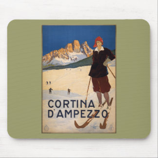 Cortina d'Ampezzo Vintage Travel Poster Art Mouse Pad