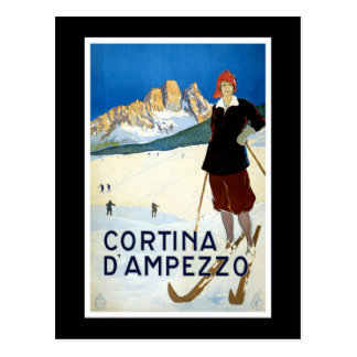 """Cortina d'Ampezzo"" Vintage Travel Poster Postcard"