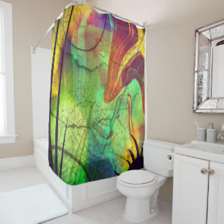 Cortina de ducha abstracta de los extranjeros y de cortina de baño