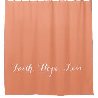 Cortina de ducha coralina del melocotón del amor cortina de baño