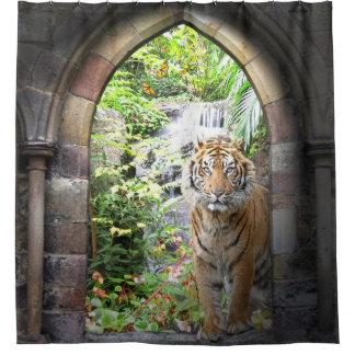 Cortina de ducha de la cascada del tigre de la cortina de baño
