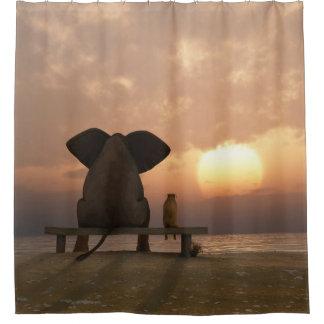 Cortina de ducha de los amigos del elefante y del cortina de baño