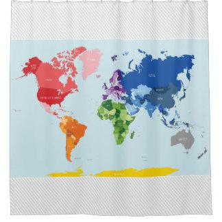 Cortina de ducha del mapa del mundo cortina de baño