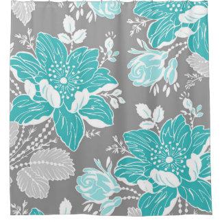 Cortina de ducha del modelo de flores del gris cortina de baño