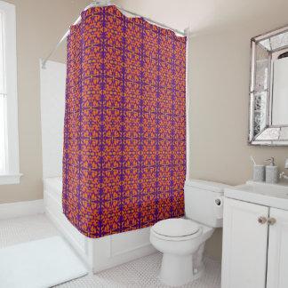 Cortina de ducha geométrica púrpura y anaranjada cortina de baño