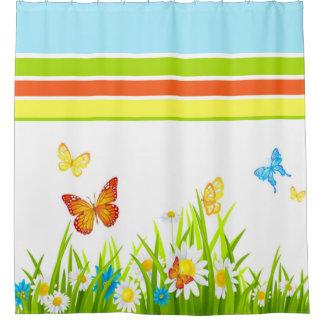 Cortina de ducha/mariposas y flores de la cortina de baño