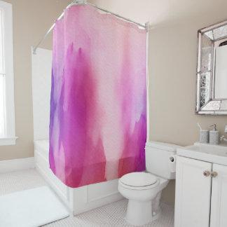 Cortina de ducha púrpura rosada de la acuarela cortina de baño