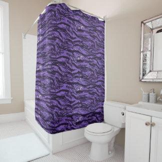 Cortina de ducha rayada púrpura del camuflaje cortina de baño