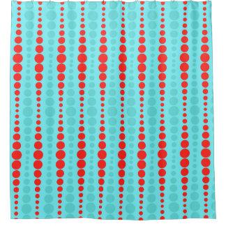 Cortina de ducha retra de los puntos del rojo y de cortina de baño