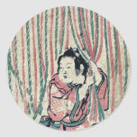 Cortina de la cuerda por Nishimura, Shigenaga Pegatina Redonda
